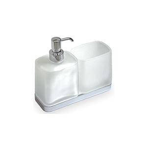 מיכל לסבון נוזלי וכוס מזכוכית לאמבטיה, דגם W4271_סדרת Time לאמבט-349