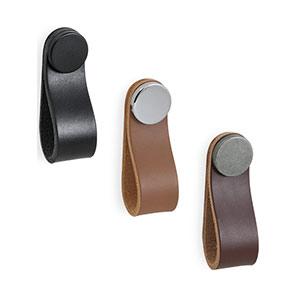 ידית כפתור נופל, עור, דגם .0404_ידיות עור-502