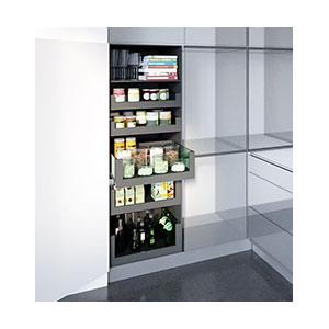 מזווה למטבח הבנוי ממגירות בעלות דופן וחזית זכוכית מלאה מקולקציית מגירות VISION_מזווים למטבח-513