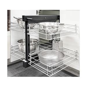 سوبر ماجيك مع رفوف زجاج/شبكة, طراز 806N_حلول تخزين لزوايا المطبخ-1266