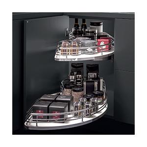 פיתרון לאיחסון פינת המטבח - מתקן 2 מדפים נשלפים עם גדר עגולה גבוהה, דגם FLY45 | FLY60_פתרונות איחסון לפינות מטבח-568